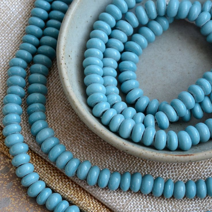 """Light Blue Glass Rondelle Beads, Glass Disc Beads, Turquoise Glass Beads, Indonesian Lamp Work Beads, Blue Disc Beads, 10"""" Strand, BB17-0127"""