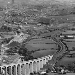 """View of Merthyr Tydfil, showing Cefn Viaduct, oblique aerial view. 5""""x4"""" black and white glass plate negative. 