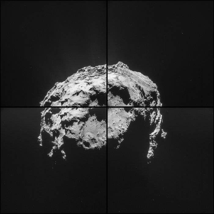"""Bilderstrecke zu: Rosetta zeigt Nahaufnahmen von Komet 67P / """"Tschuri"""" - Bild 2 von 6 - FAZ / Copyright Foto: ESA /  Die Raumsonde Rosetta im Anflug: Der Abstand zum Kometen beträgt noch 35 Kilometer. Die vier Bilder dieses Mosaiks von Tschuri wurden am Samstag, den 14. Februar 2015, um 4.32 Uhr (MEZ) geschossen. Die Seitenlänge jedes Einzelbildes beträgt 3 Kilometer. Zu sehen ist Hatmehit, die große Senke auf dem Kopf des Kometen."""