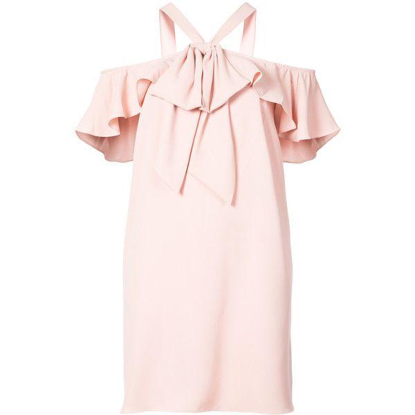 Jay Godfrey Broda dress ($455) ❤ liked on Polyvore featuring dresses, open shoulder dress, short halter dress, short dresses, pink dress and short ruffle dress