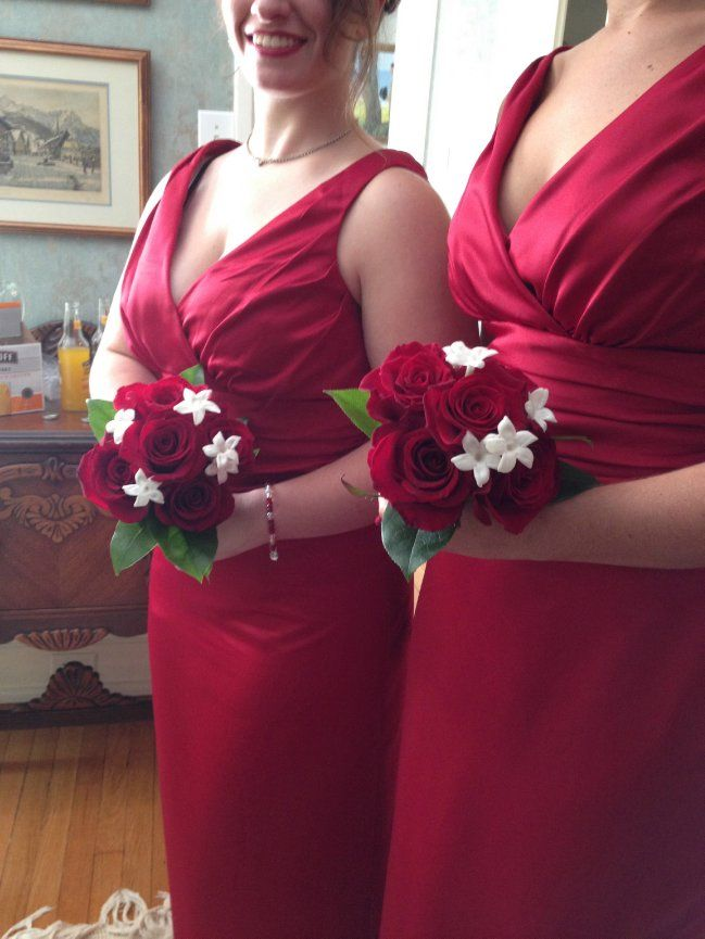 #red #roses and #stephanotis #bridesmaids #bouquets flowers by Carol Lynn Originals & Events