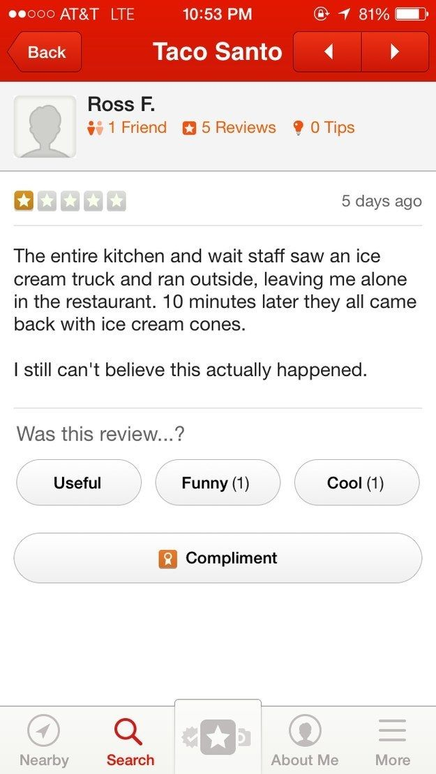 LOL Hilarious restaurant review   23 Online Reviews That Failed So Hard They Almost Won
