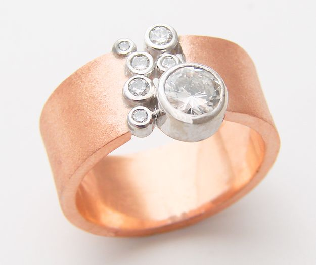 absolutely not your grandmother's rose gold ring: 14k rose gold gets a facelift in susan's gap band, encasing natural conflict-free australian diamonds. only one-of-a-kinds, and only at blue.