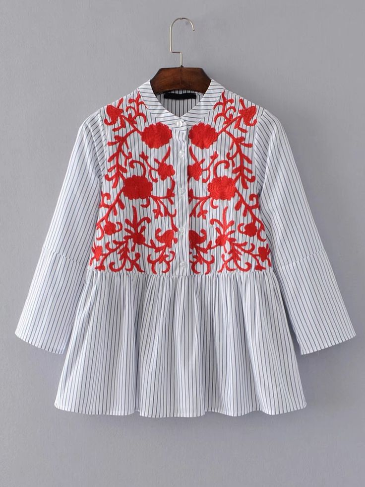 Shop Band Collar Vertical Striped Embroidery Blouse online. SheIn offers Band Collar Vertical Striped Embroidery Blouse & more to fit your fashionable needs.