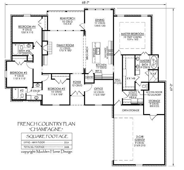House Plans With Media Room: Champagne. 2234 Sf With 4 Bedrooms