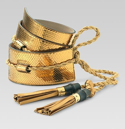 Gucci gold python belt with tasselsGucci Tassels, Diy Ideas, Belts Belts Belts, Gold Belts, Beautiful Belts, Diy Fashion, Tassels Belts, Python Belts, Gucci Gold