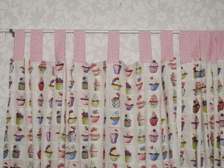 schöne 2 tlg gardinen set muffin cupcakes von toertchenfrau via dawanda.com