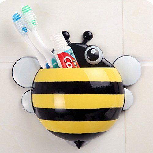 Petermall Yellow Bathrom Lovely Cartoon Bee Toothbrush Towel Holder Sucker Bracket: Amazon.co.uk: Kitchen & Home