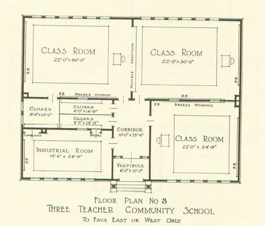 Community School Plans, Bulletin No.3 Issued by The Julius Rosenwald Fund, Nashville, Tennessee, 1924  Three Teacher School facing east and west.