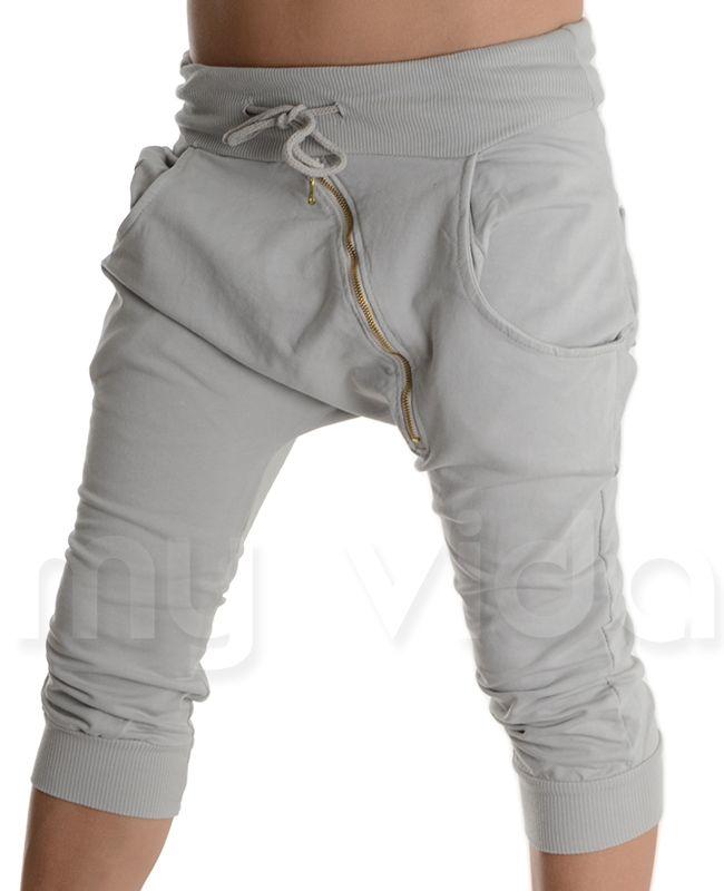 GRIGIO CHIARO - #Pantaloni corti alla turca con zip. Pantaloncini estivi modello #pinocchietti in cotone ed elastam, leggeri e comodi ideali in #estate