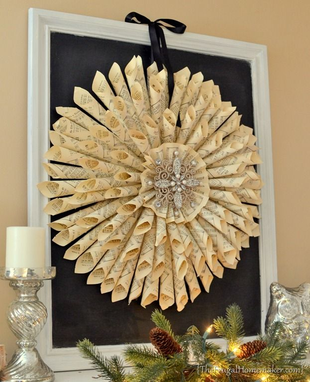 Vintage Music Page Wreath. This would be cool w/ an old clock face in the center.