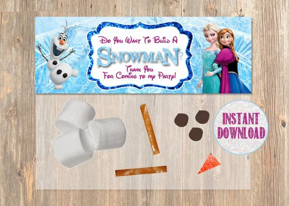 Do You Want To Build a Snowman? Frozen Favor Bag Toppers - Disney Frozen Birthday Printable for Party Treat Candy. Frozen Birthday Supplies. on Etsy, $3.89