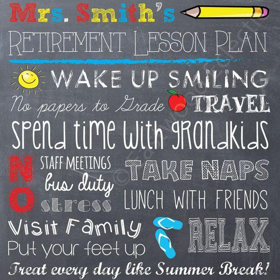 Teacher Retirement Chalkboard Printable -- Retirement Gift -- Print-at-Home -- Digital Art