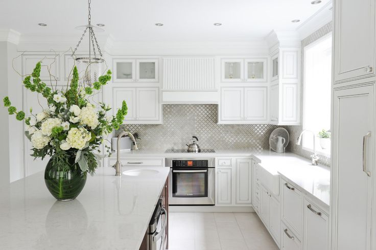Updated Inexpensive Backsplash Creates a Stunning Kitchen: Inexpensive Backsplash Ideas With White Kitchen Cabinets And Apron Sink Also Kitchen Faucets And Kitchen Cabinet Hardware With Kitchen Island