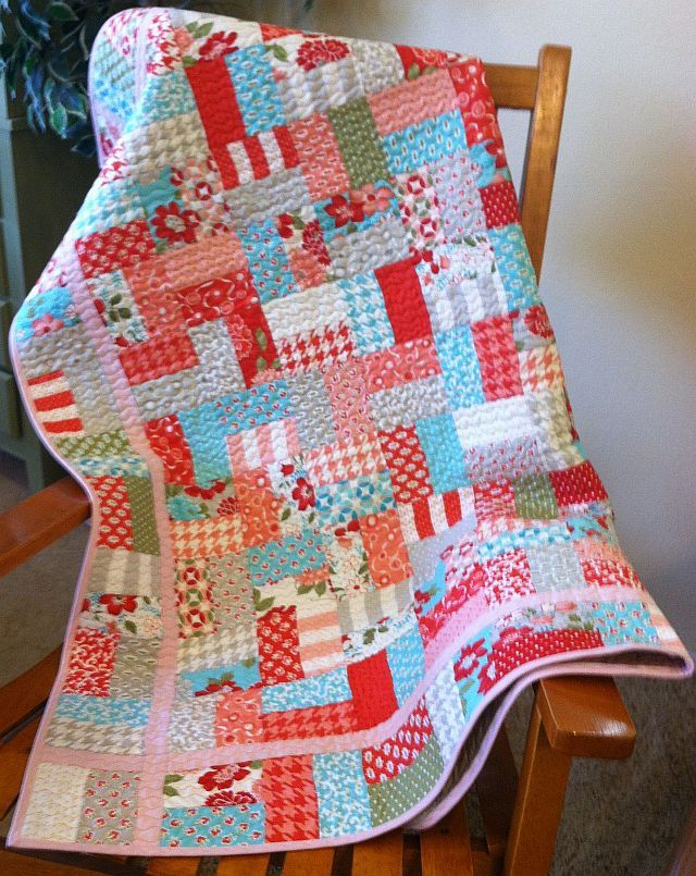 So a jelly roll and a yard of coordinating fabric you can whip up this quilt in no time!