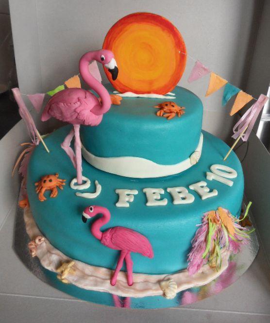 Flamingo Ibiza themed cake - Flamingo Ibiza thema taart