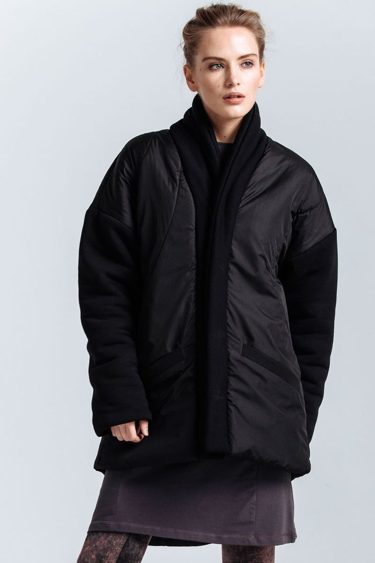 Regular fit warm jacket made of batting with a lowered shoulder line. The sleeves and the collar are made of thick jersey, the rest of the coat is made of black Bologna. Pockets on the front, snap-fasteners.   #mariashi #fashion #nofilter #outfit #outfitoftheday #outfits #outfitpost #clothes #fashionista #fashiondesigner #shopping