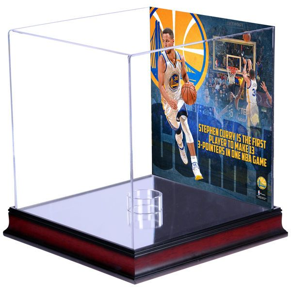 Stephen Curry Golden State Warriors Fanatics Authentic Mahogany Basketball Display Case with NBA Record 13 3-Pointers Sublimated Plate - $129.99