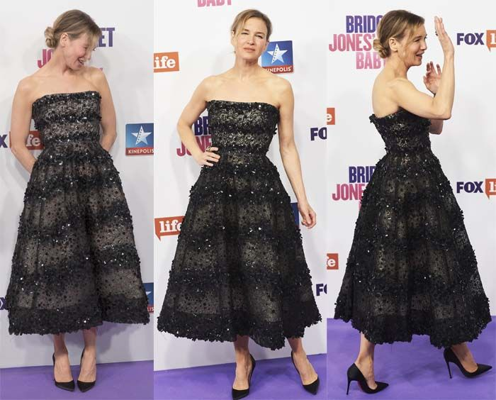 """Renee Zellweger at the Madrid premiere of """"Bridget Jones' Baby"""" in a Carolina Herrera dress paired with Christian Louboutin """"So Kate"""" pumps on September 9, 2016"""