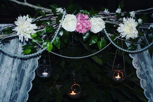 Rustic arch with tea lights