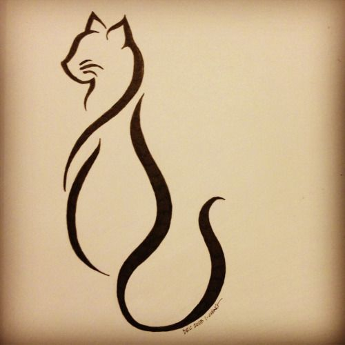 "kallimao: ""Cattoo This is the finalized cat tattoo design for my friend Lindsay K. She decided that she wanted more of an abstract line art style, and this is the end result. I look forward to seeing this design tattooed upon her this weekend! """