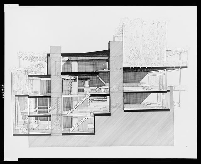 Paul Rudolph's penthouse apartment, 23 Beekman Place, New York City. Cross section. / gorgeous work via @Charlie Loyd