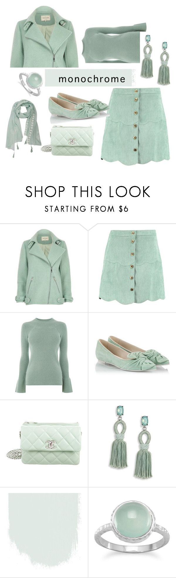 """""""minty monochrome"""" by rpsounos ❤ liked on Polyvore featuring River Island, Boohoo, Warehouse, RAS, Chanel and Oscar de la Renta"""