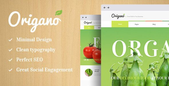 Origano, with its excellent clean design, is an ideal option for organic food related websites: agricultural business, healthy food blog, organic food shop, organic farm, bakery, you name it! #food #blog #design #theme #wordpress