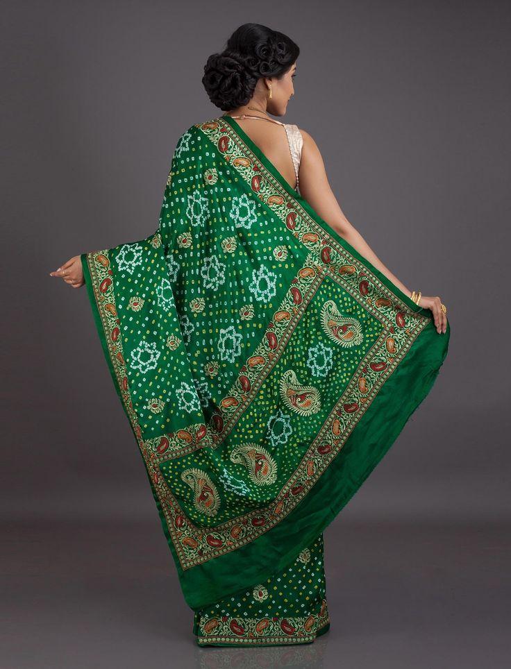 Jamnagar is famous for the Bandhani mean a type of saree, world wide. Green Bandhani Gajji Silk saree from Jamnagar - Bandhani Sarees…