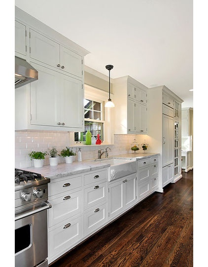 Love the ceiling height upper cabinets and white contrast for Kitchen cabinet height from floor