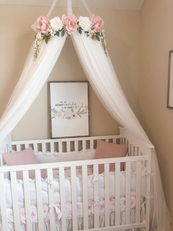 Aurora Canopy Serene Floral Crib Canopy Bed Crown Etsy Crib Canopy Girl Nursery Room Baby Girl Room