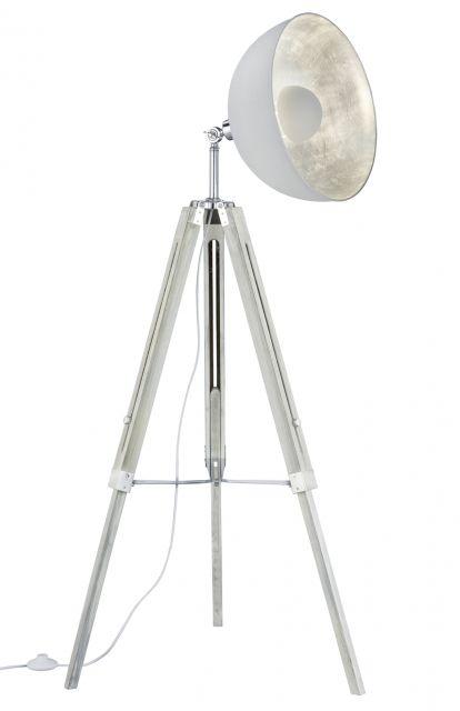 LIÈGE Trio - stojanové svietidlo - biely kov + drevo