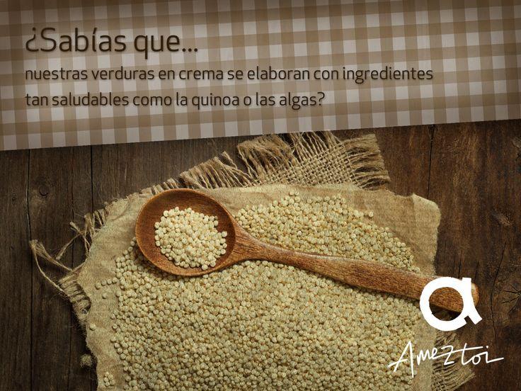 ¿Sabías que nuestras verduras en crema se elaboran con ingredientes tan saludables como la quinoa o las algas? #Ameztoi