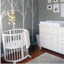 Modern white baby tree branch and bird nursery wall decals on a charcoal gray wall #pinparty