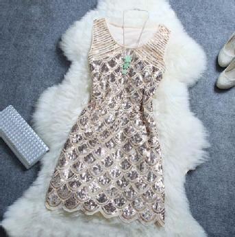 Stylish Atmosphere Beaded Sequined Dress #poachit