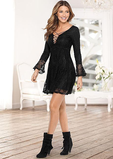 %PC% Lace up lace dress, knotted slouchy boots from VENUS