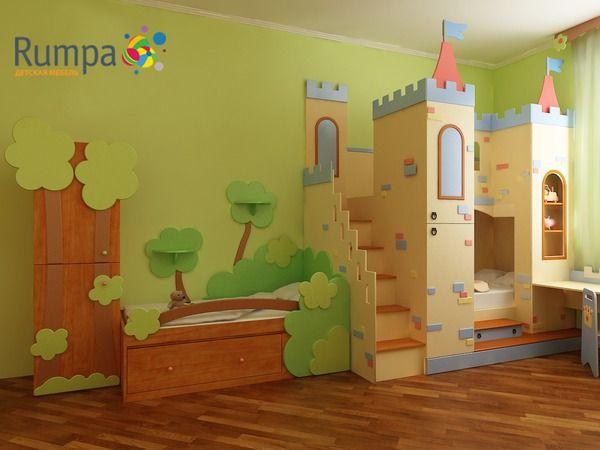 "Детская комната ""Заколдованный лес - Эльф"" с накладками из МДФ на фасады"