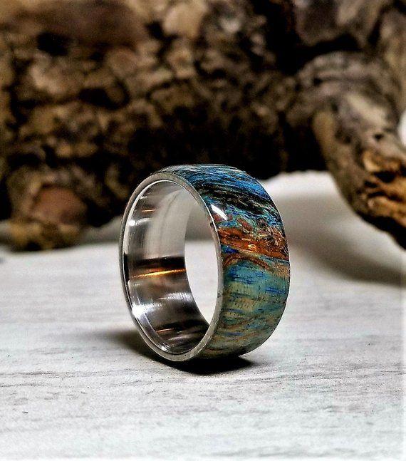 Earth Ring Mens Wedding Band Mens Wedding Band Mens Wedding Ring Mens Wedding Ring Wedding Ring Man Wood Ring Rings Mens Wedding Bands Rings For Men Blue Rings