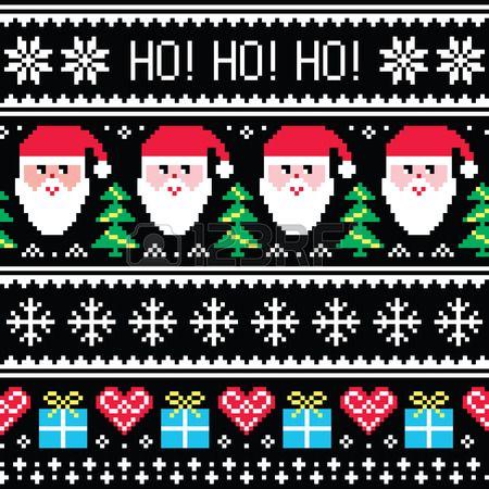 Weihnachten Jumper oder Pullover nahtlose Muster mit Weihnachtsmann und Geschenken