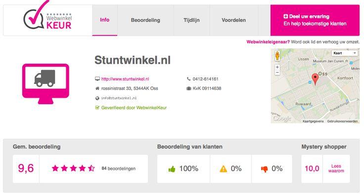 Ouderwets goede service met een glimlach. Bekijk de klant reviews van www.stuntwinkel.nl op https://www.webwinkelkeur.nl/leden/Stuntwinkelnl_2778.html