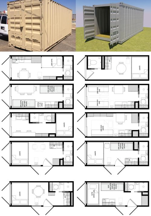 "Some brilliant ideas for 20ft containers by Michael Janzen from Tiny House Living "" This is just a little design exploration for how one might finish out a shipping container as a home. Some of the issues I'm noodling-through are: • Should a side..."