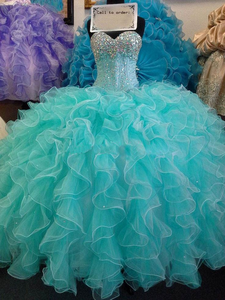 Hot Sale Turquoise Quinceanera Dresses 2015 Sexy Sweetheart Beaded Sequins Sweet 16 Dresses Ball Gowns with Cascading Ruffles