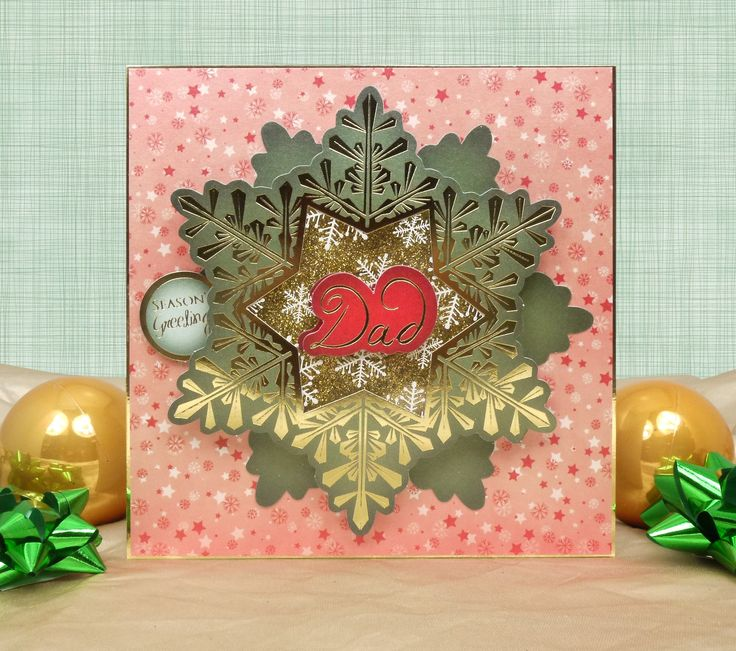 A Family Christmas by Hunkydory Crafts. Card made using 'A Family Christmas Snowflake Aperture Card Kit' http://www.hunkydorycrafts.co.uk/acatalog/A-Family-Christmas-Snowflake-Aperture-Card-Kit-FAMX106.html#SID=279