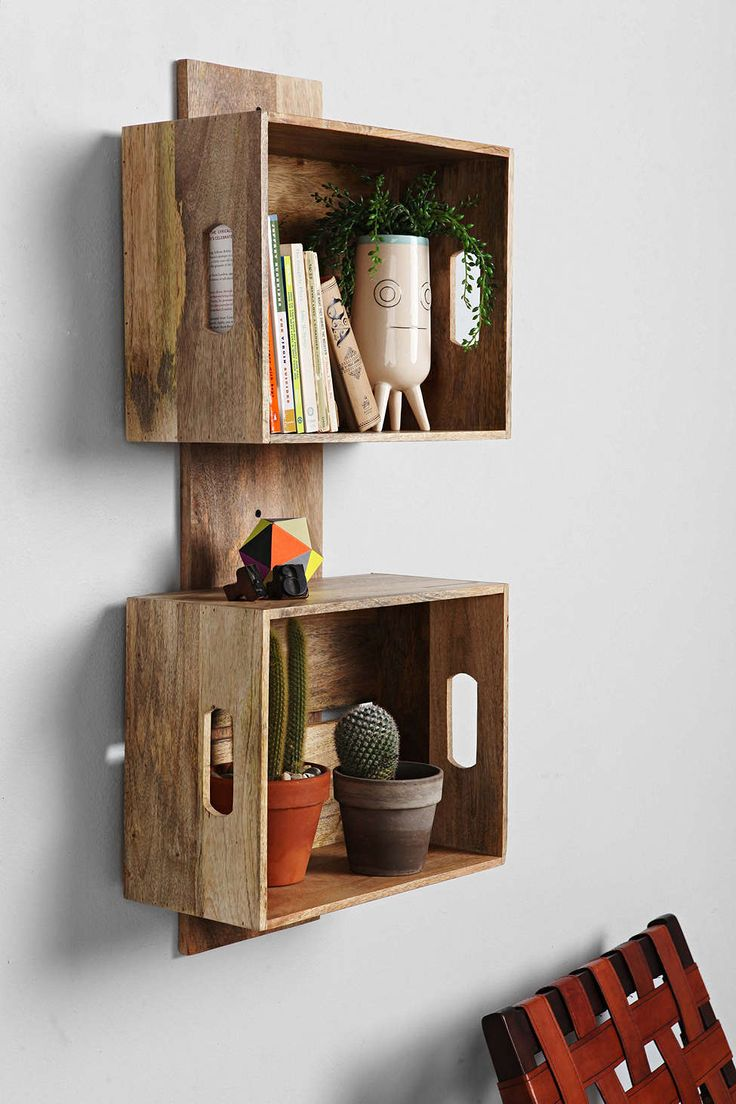 4040 Locust Stacked Crate Wall Shelf Urban outfitters---make this with scrap wood