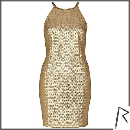 #RihannaforRiverIsland Gold Rihanna embossed racer front dress. #RIHpintowin click here for more details >  http://www.pinterest.com/pin/115334440431063974/