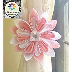 "ONE Handmade 6"" Kanzashi Baby Pink and White Felt Flower Curtain Tieback, Unique Design, Floral Nursery Holdback Home Decoration, Flower Baby Shower Gift Decor Idea, Wedding Decor"