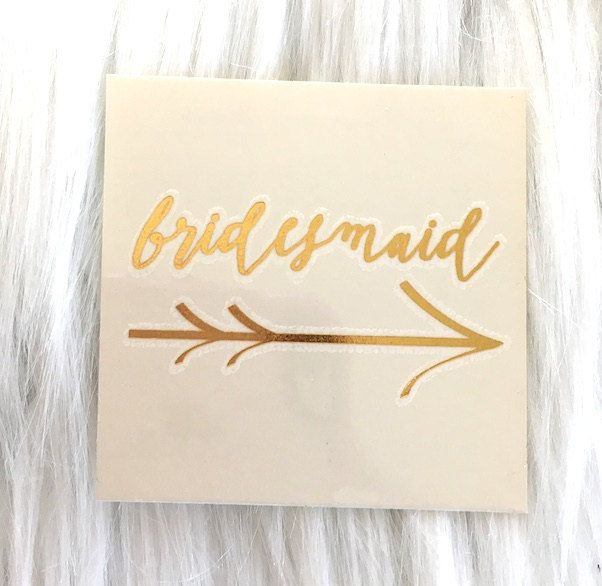 "Bridesmaid - arrow- single 1 tattoo - temporary gOLD tattoo - 2"" x 2"" - bachelorette party -bride tattoo - READY to SHIP by janetmorrin on Etsy"