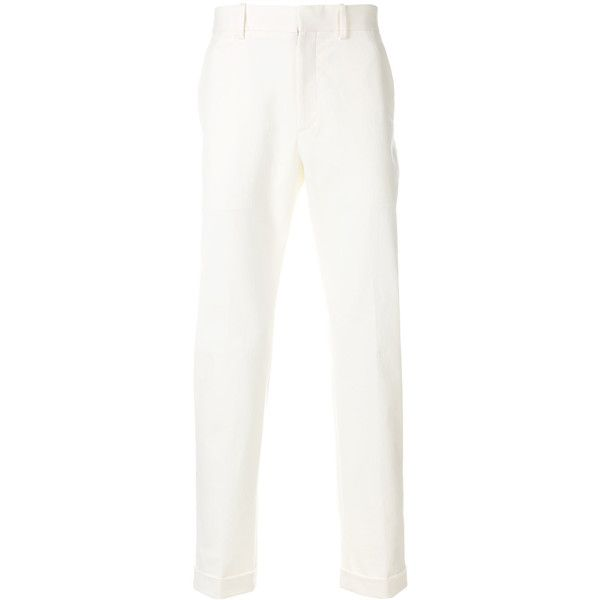 Bottega Veneta cotton-blend twill chinos ($690) ❤ liked on Polyvore featuring men's fashion, men's clothing, men's pants, men's casual pants, white, mens twill pants, mens chinos pants, mens white pants, mens chino pants and mens white chino pants