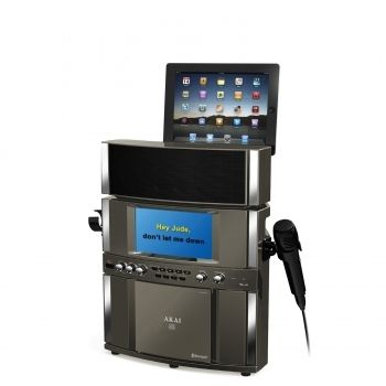 AKAI Bluetooth Professional Karaoke System with Built-in Stereo Speakers, USB Record & Playback, 7 Inch Color TFT and Tablet Cradle