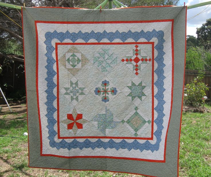 My masterpiece.  I decided to make a full size double bed quilt.  Enrolled in Sampler quilt classes at Sandlyn House Mooroolbark Victoria (sad now gone).  They were so patient.  I didn't machine quilt it - left that to the experts.